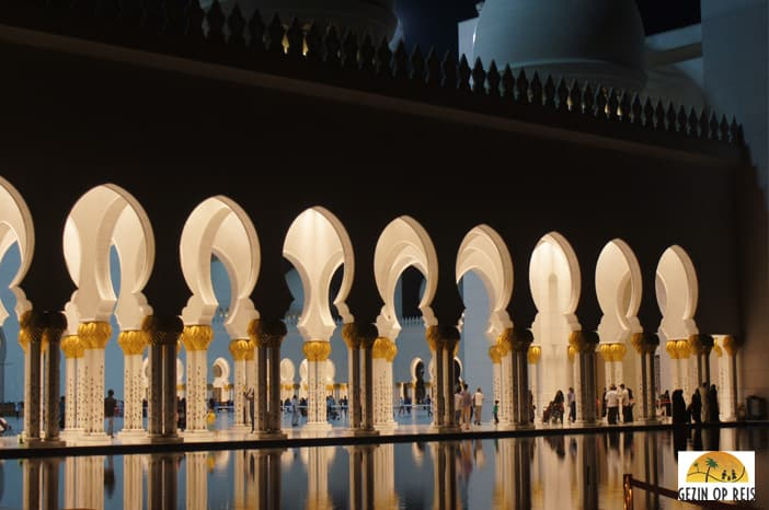 Een must see in Abu Dhabi Sjeik Zayed-moskee.