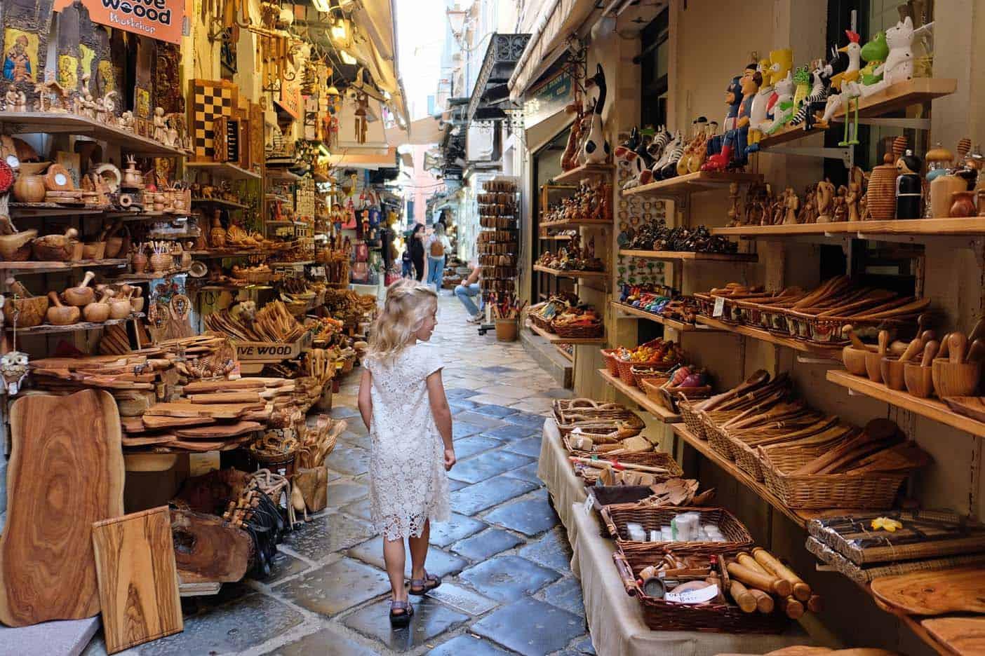 corfu stad winkelen
